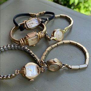 Antique women's watches lot of 5 parts scrap